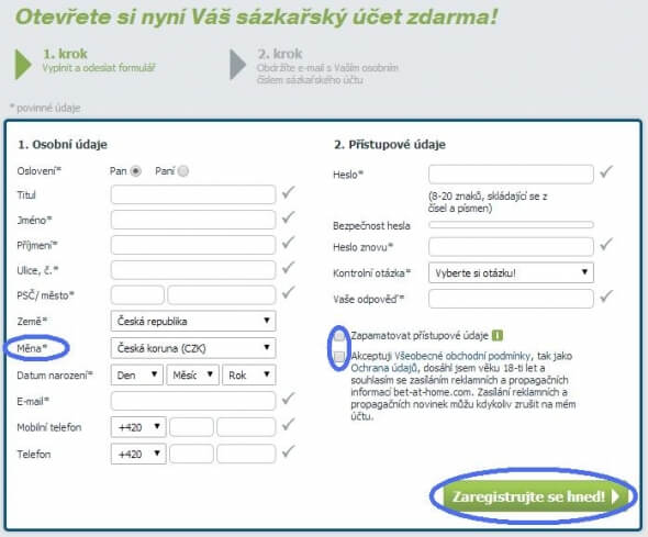 2. krok registrace na herně Bet-at-home